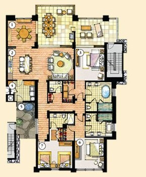 Floor Plan for Orchid Residence 1-302 at Montage Kapalua Bay